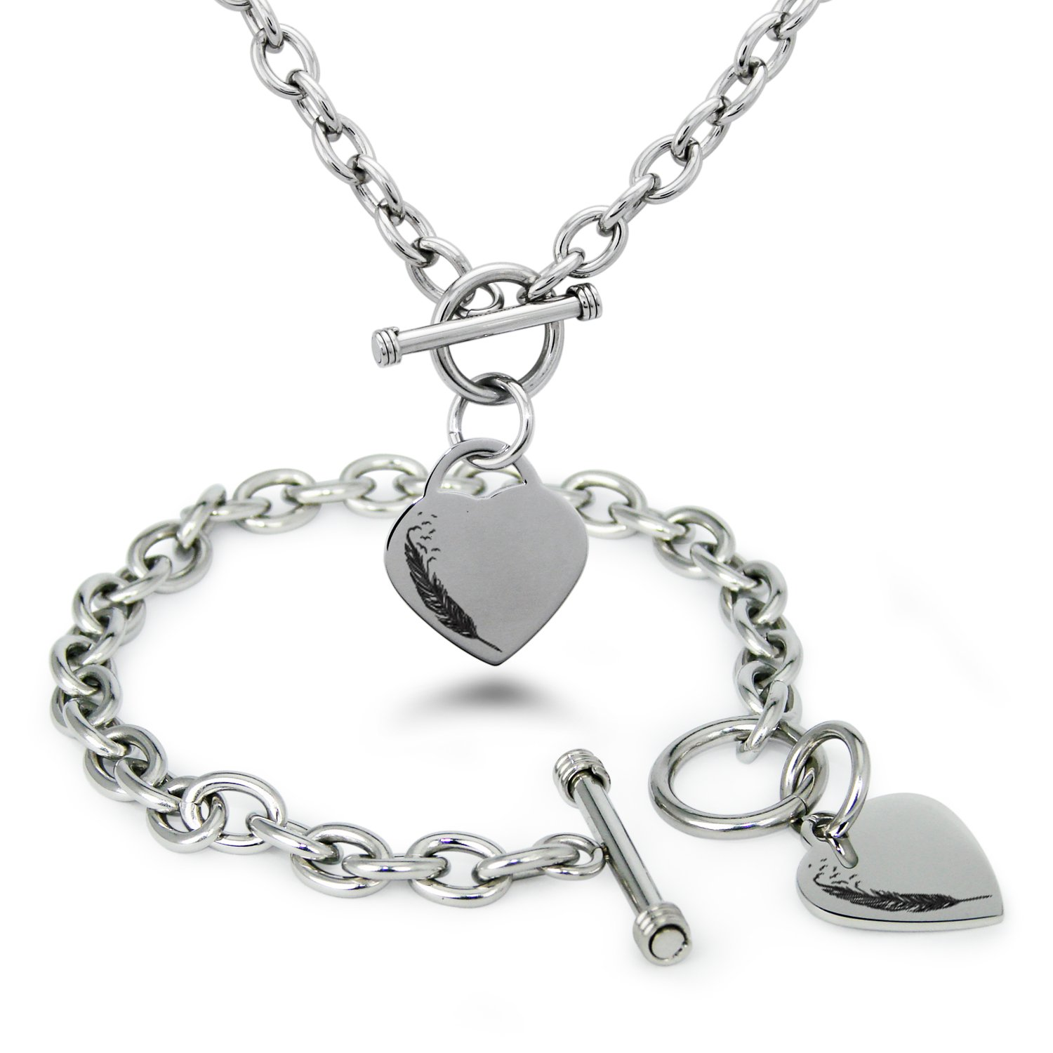 Stainless Steel Feather Birds Heart Charm, Bracelet and Necklace Set
