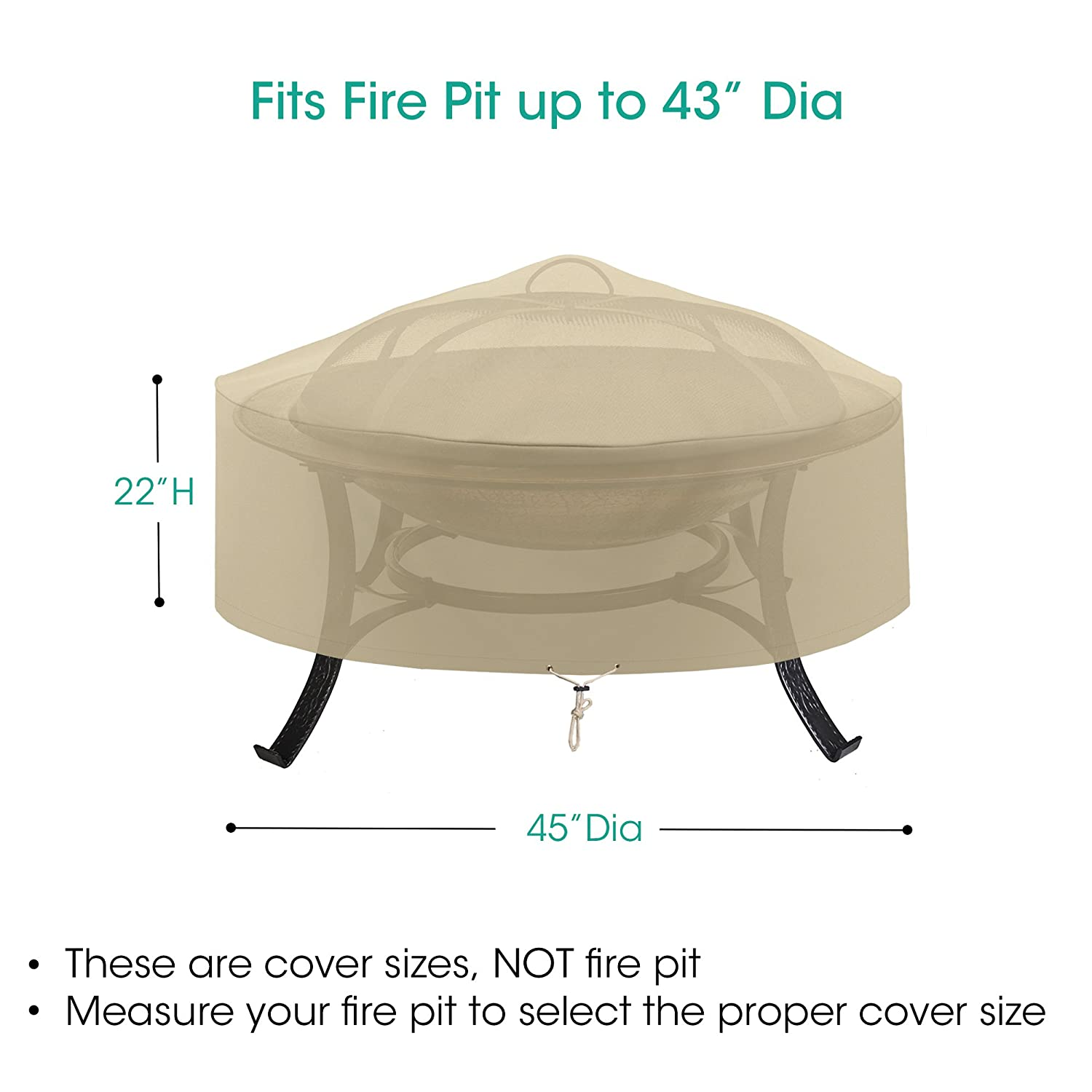 Amazing Sunpatio Fire Pit Cover Round 45 Inch Outdoor Waterproof Firepit Covers Large Heavy Duty Patio Coffee Table Cover All Weather Protection Beige Uwap Interior Chair Design Uwaporg