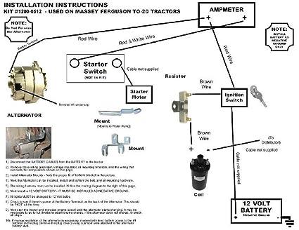 Amazon.com: Compatible with Massey Ferguson TO20 Tractor Alternator  Conversion Kit 6 V to 12V: Industrial & ScientificAmazon.com