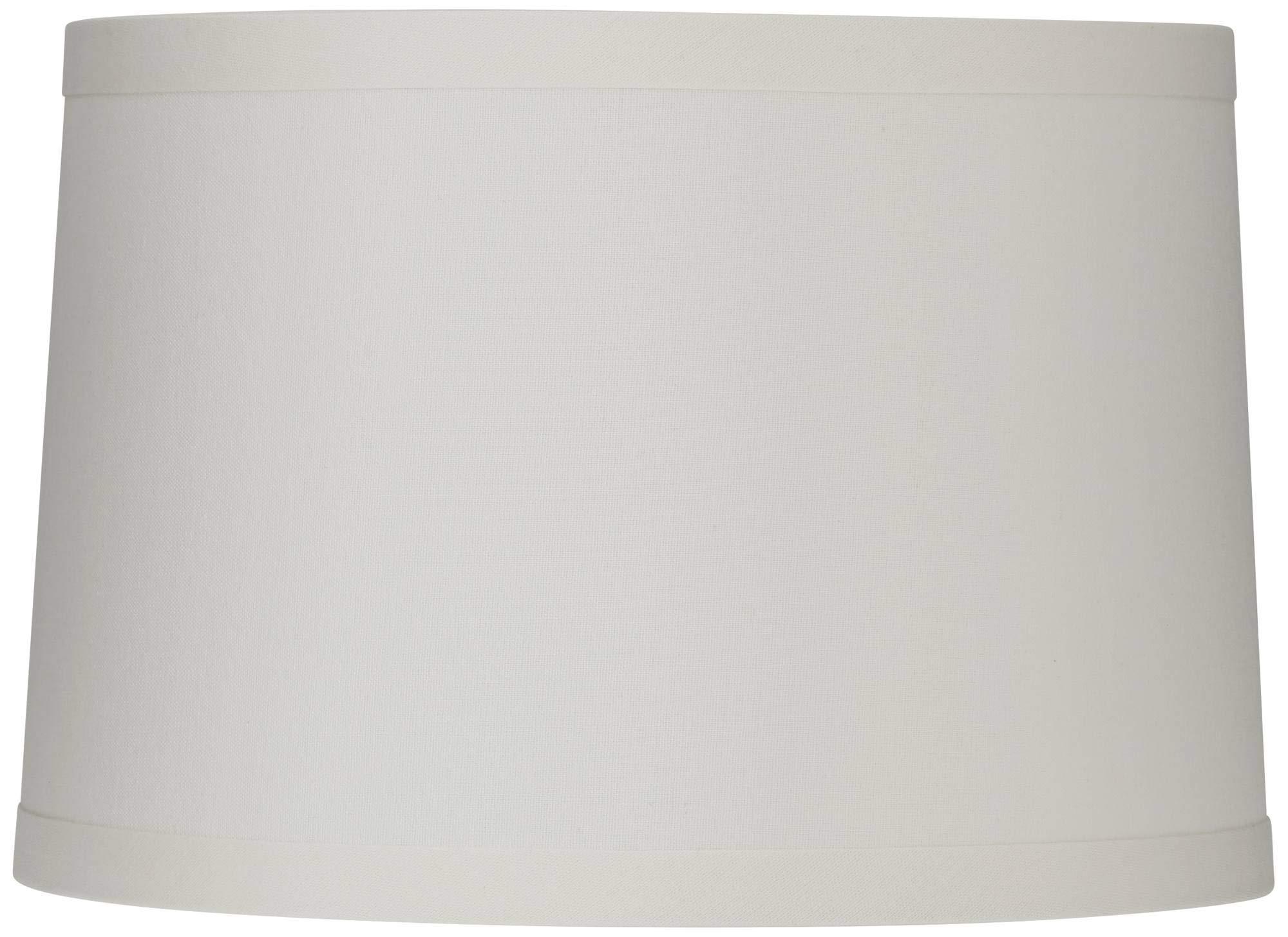 White Linen Drum Lamp Shade 15X16X11 (Spider) - Springcrest