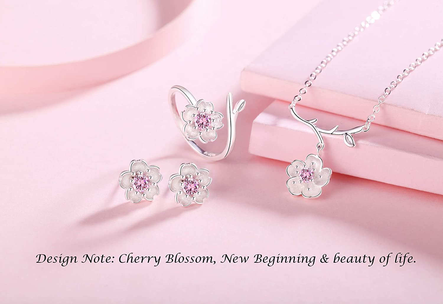 IS ISAACSONG Cherry Blossom Sterling Silver Crystal Charm Flower Necklace Earrings Ring Jewelry Set for Women