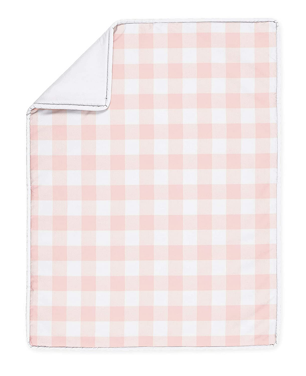 Gingham and Flowers Floral Crib Bedding Set Country Baby Bedding Gingham Pink and White