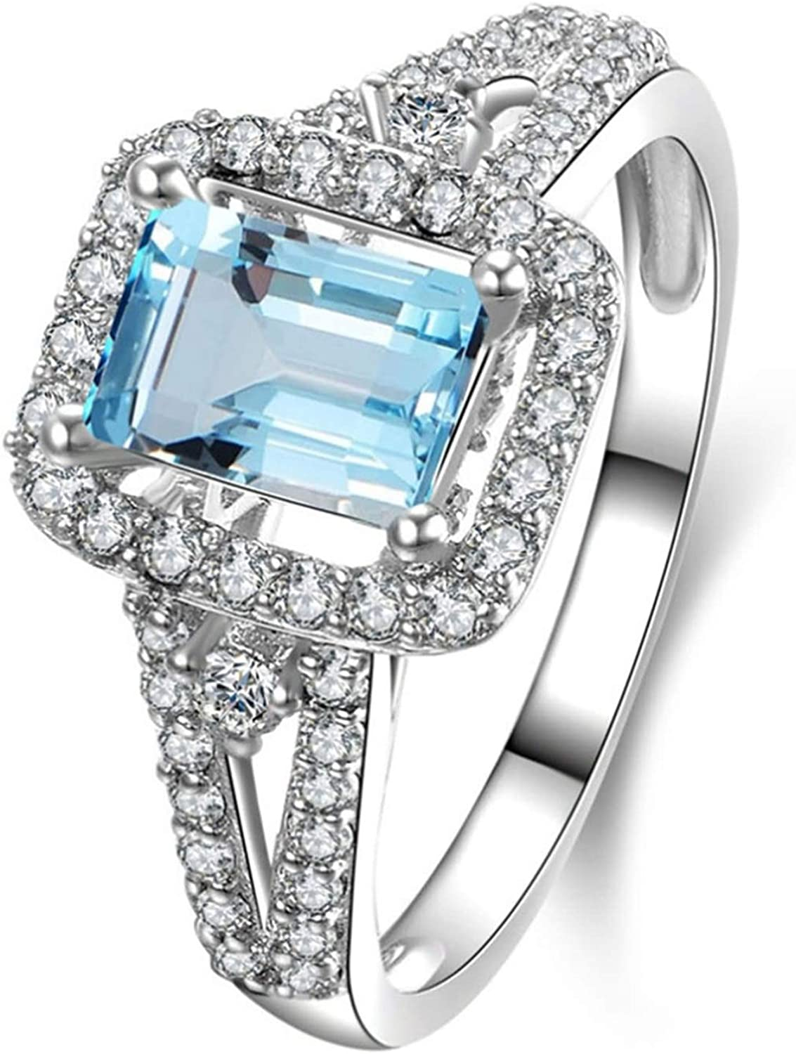 AMDXD Jewellery 925 Sterling Silver Anniversary Ring Girl Square Cut Topaz Square Rings