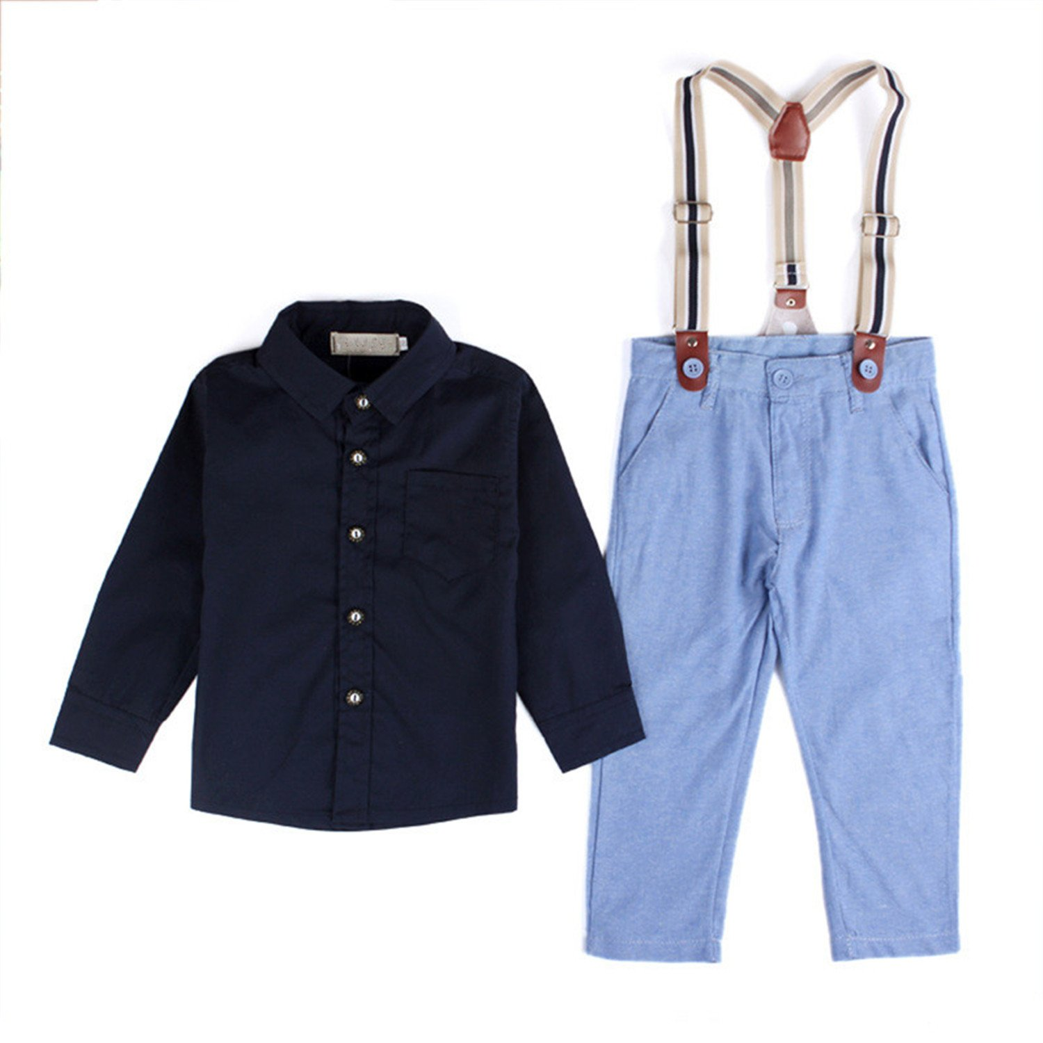 Hoared Black Shirt+ Sling Strap Jean Pants Clothing Button Suit Child Wedding Suits Fashion Overalls Overall 2T