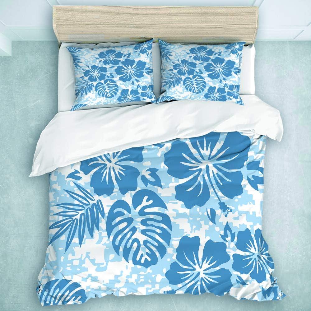 MIFSOIAVV 3-Piece Duvet Cover, Hibiscus Aloha Hawaiian Pattern Hawaii Floral Surf Flower Tropical Camo Tiki, Print Cartoon Bedding Set (Twin Size)