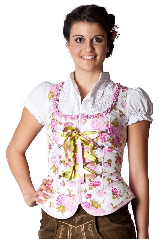 Alpenfee Damen Trachtenmieder Ramona rosa /weiß D090038