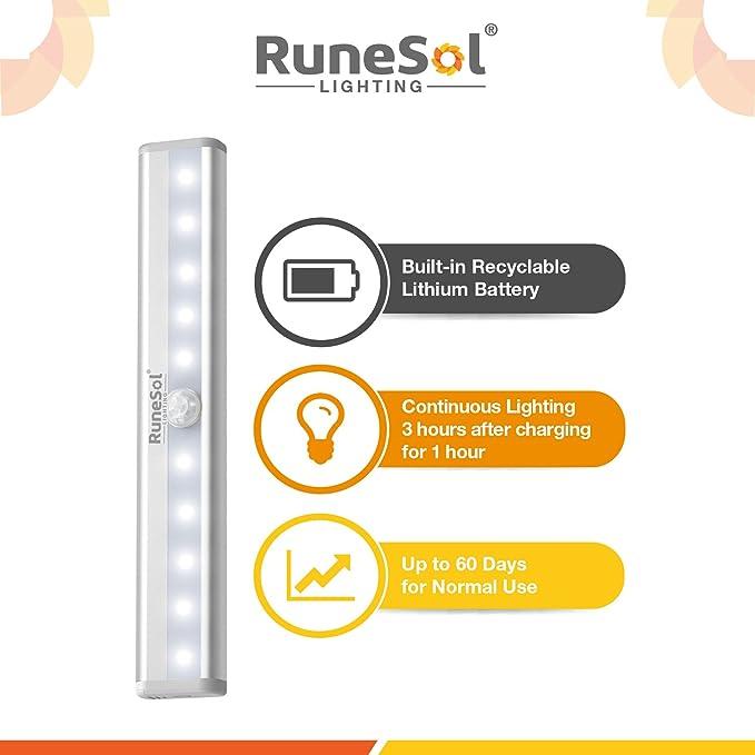 RuneSol Lámpara Recargable con Sensor De Movimiento 4 Barras De Iluminación con 10 Luces LED/Sensor Nocturno De Luz Súper Brillante-Barra Inalámbrica De Luz ...