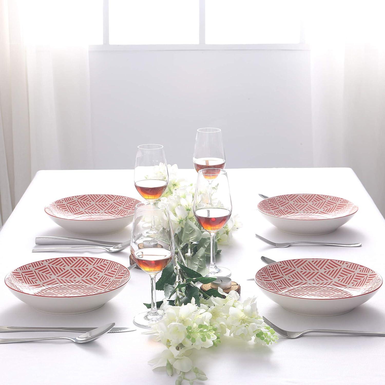 Piatti Piatto Piatti Servizio da Tavola in Porcellana Set di Piatti Fondi Piatti da Dessert Insalata Pasta Pizza Tondo Rosa per 4 Persone vancasso Momoko Set 4 Pezzi