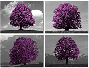 Kreative Arts Black White and Purple Tree Canvas Print Wall Art Landscape Picture Stretched and Framed Artwork for Home Decor Ready to Hang 12x16inchx4pcs