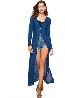 Frauen Langarm Open Front Pullover Solid Color Lange Vertuschen Leicht Maxi  Outwear Strickmantel eb9e9e8dcd