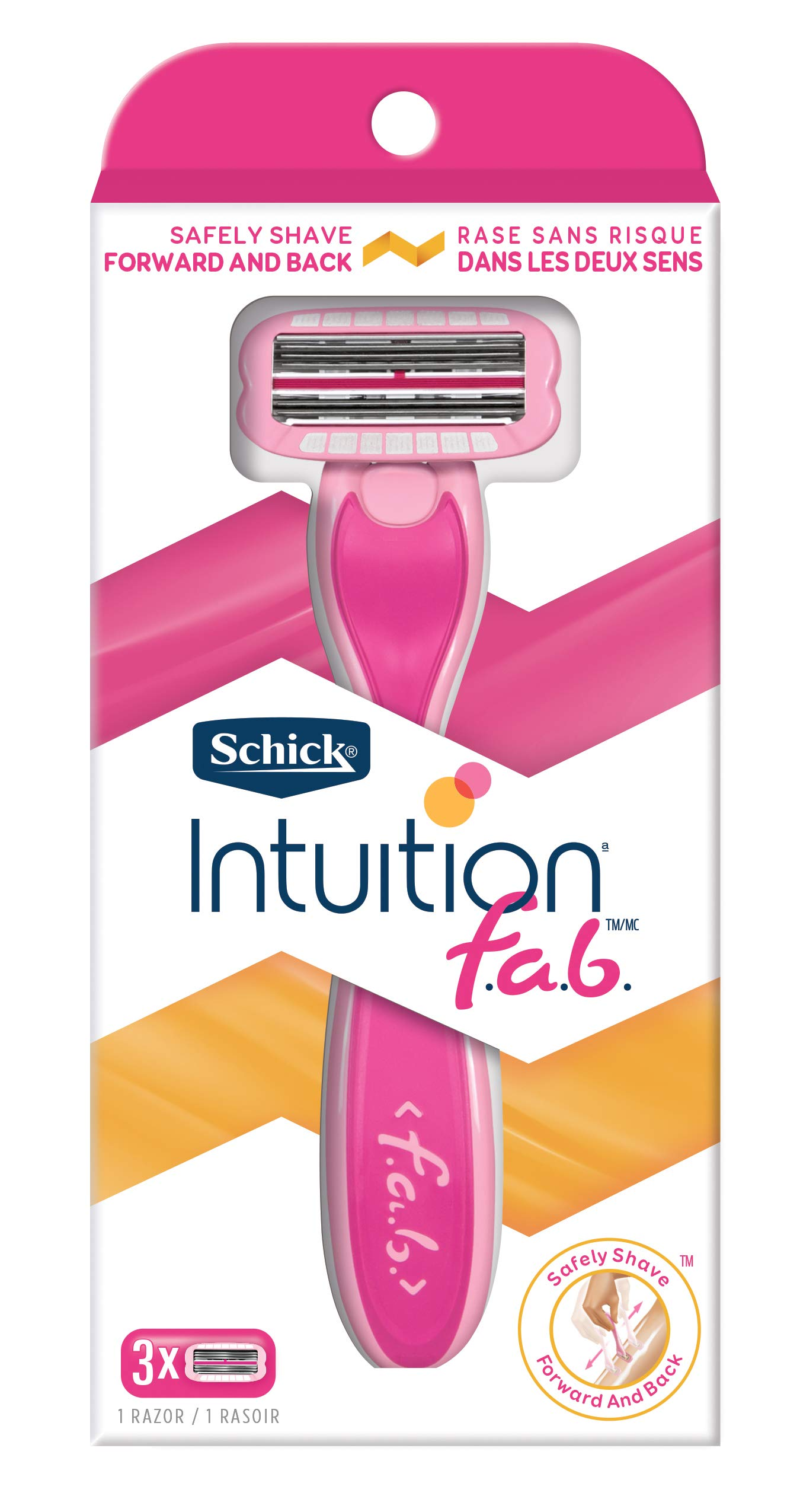 Schick Intuition F.a.b. Razor for Women with 1 Handle and 3 Razor Blade Refills by Schick