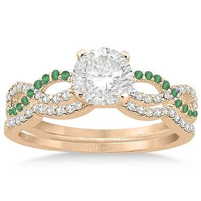 Amazoncom Infinity Diamond And Emerald Engagement Ring And Diamond