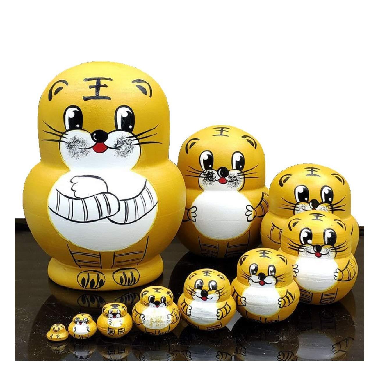LK King&Light 10pcs Golden Tiger Russian Nesting Dolls Matryoshka Wooden Toys
