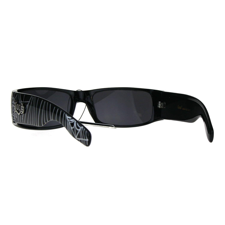Locs Narrow Rectangular Gangster Cholo Spider Web Print Arm Sunglasses