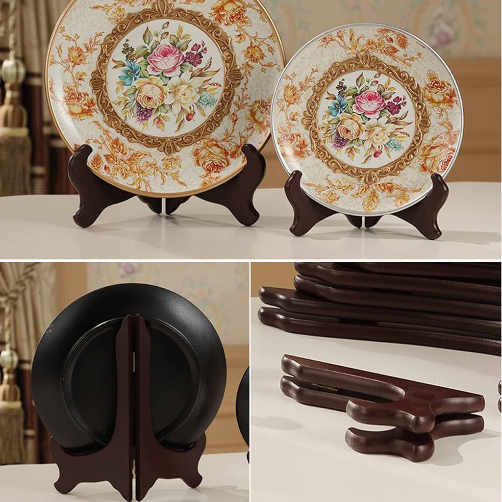 Wooden Easels Stand Plate Holder Display Pictures Frame Tablets Dishes Platter Organizer Rack 4inch