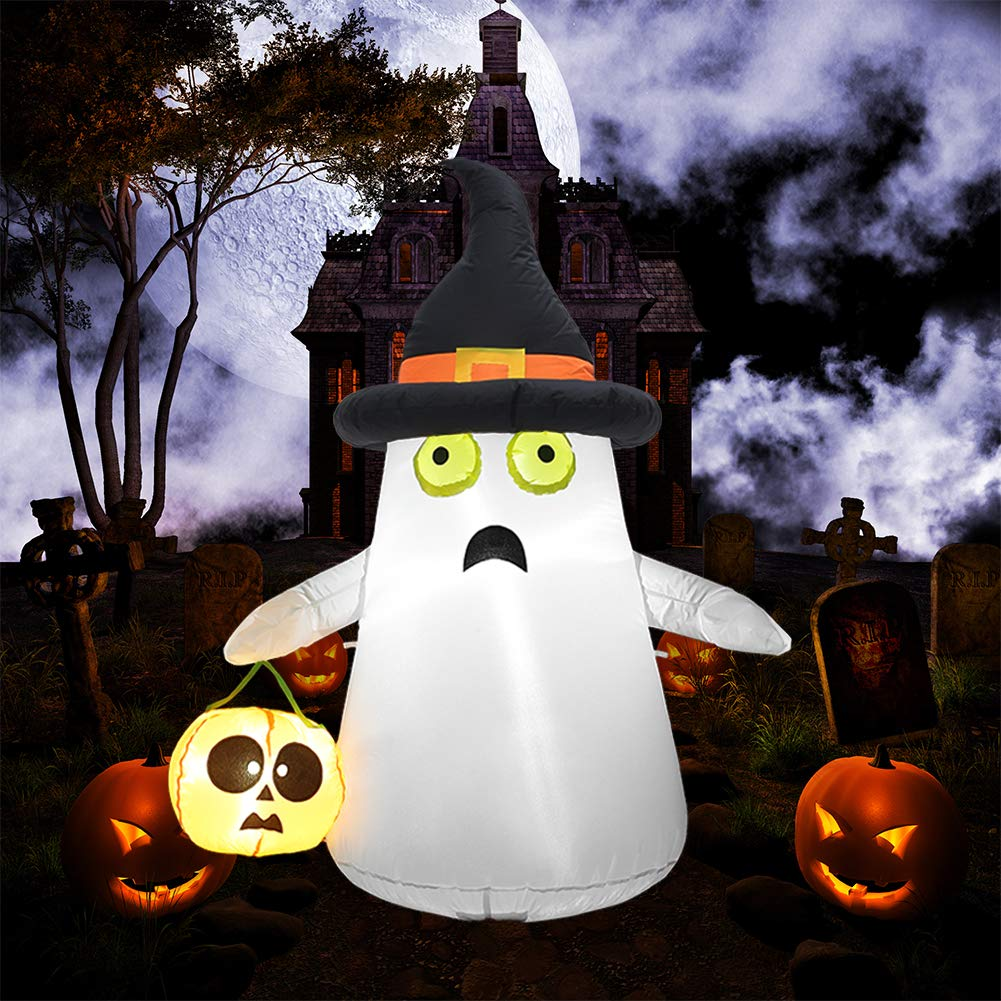 SUPERJARE Inflatable Ghost&Pumpkin, Blow Up Halloween Decoration with LED Light, 4 FT Ghost with Witch Hat, Indoor&Outdoor, Yard&Lawn Decor