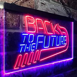 zusme Back to The Future Movie Home Theater Novelty LED Neon Sign Blue + Red W16 x H12