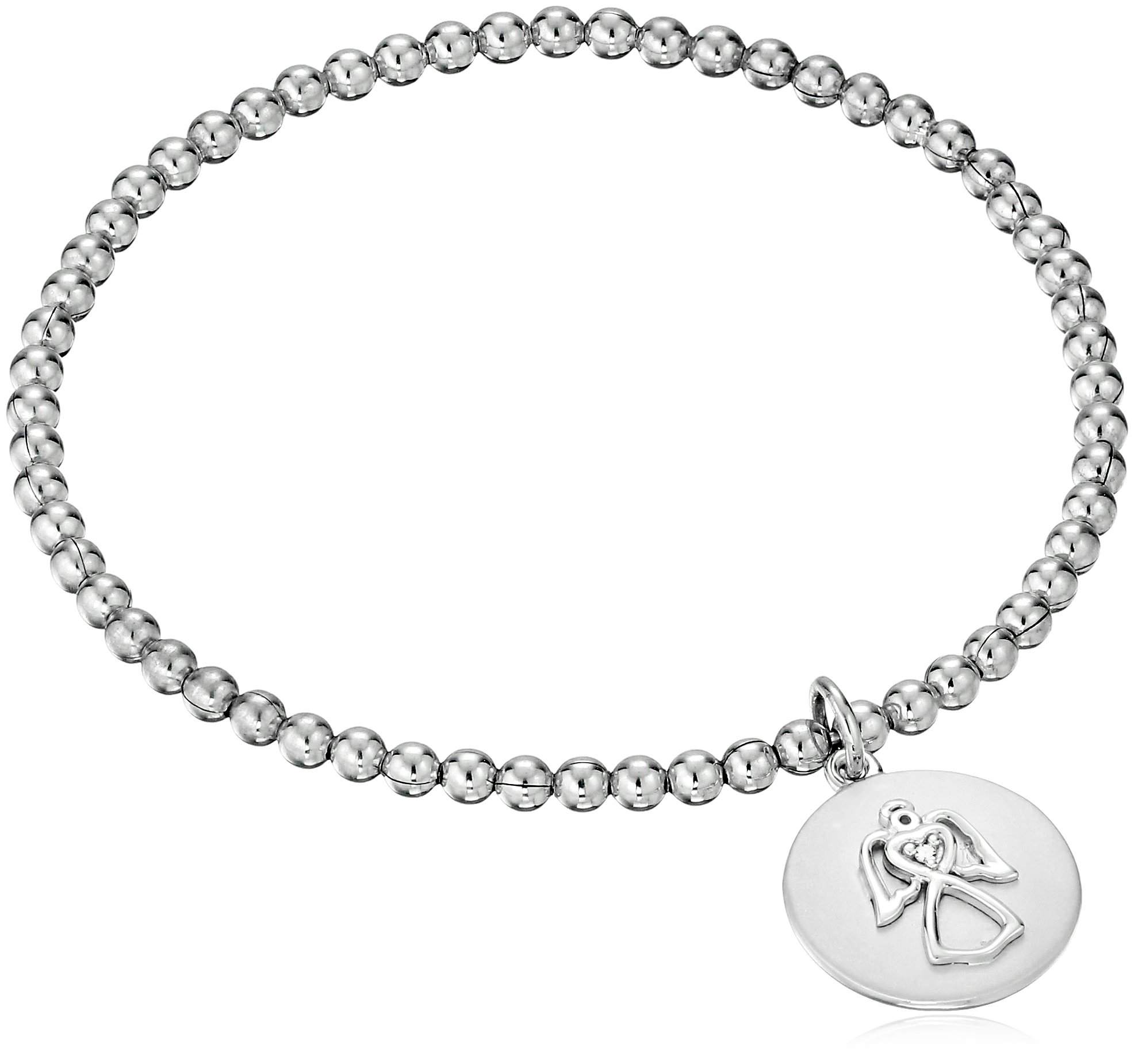 Sterling Silver Diamond Accent ''Guardian Angel'' Stretch Bead Charm Bracelet by Amazon Collection