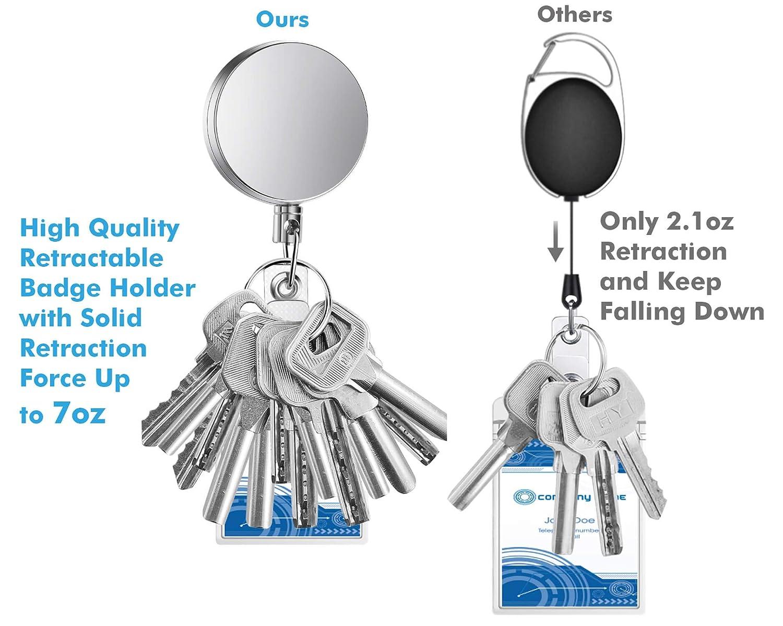 Selizo 4/pezzi retrattile badge Holder Heavy Duty badge Reels ID con anello portachiavi clip per carta d identit/à moschettone chiave di lavoro badge