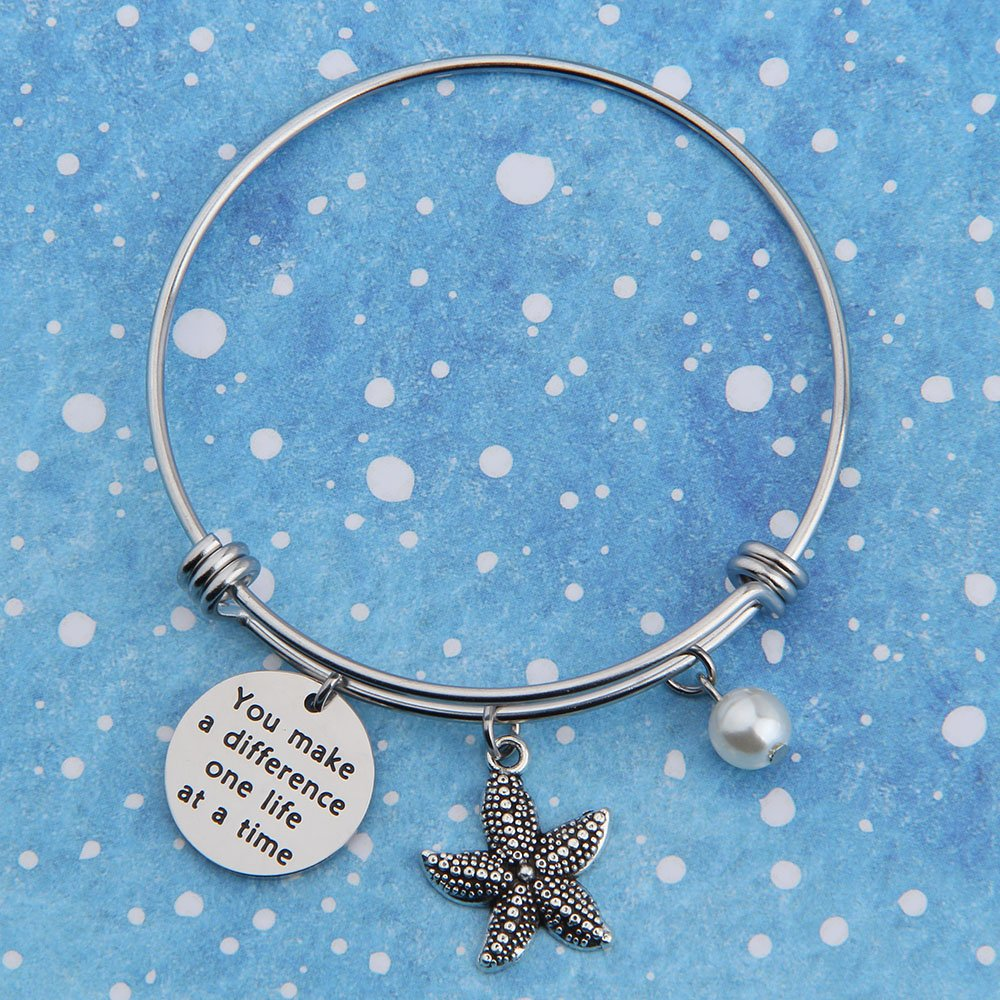 bobauna You Make A Difference One Life at A Time Starfish Bracelet Appreciation Gift for Volunteer Social Worker