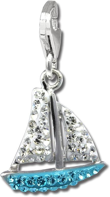 SilberDream parpadeo Charm bijoux-Barco de vela de color azul claro para mujer de plata 925/1000 y checas cristales Preciosa-parpadeo GSC569H-Charms: SilberDream: Amazon.es: Joyería