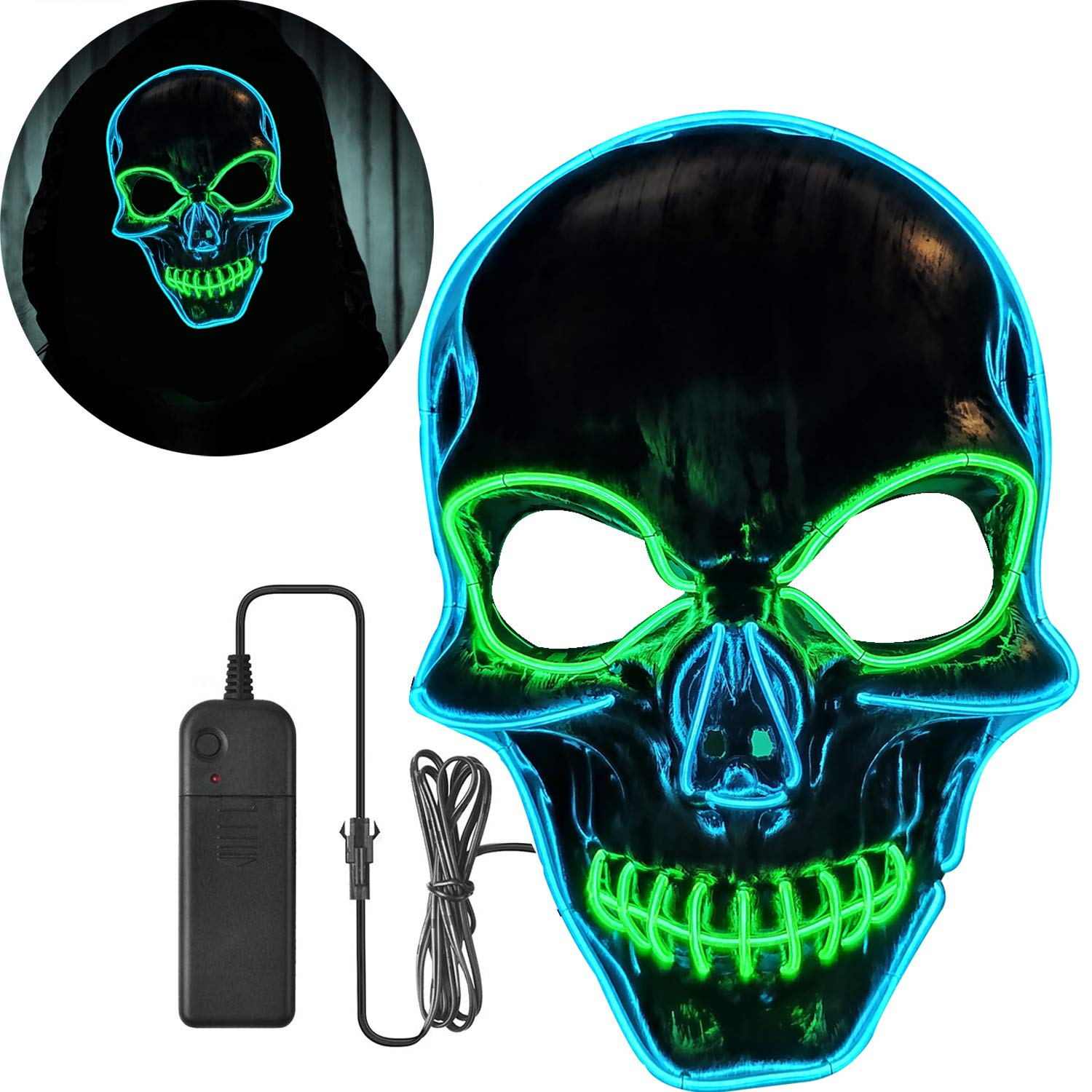Yostyle Halloween Scary Pumpkin Mask Cosplay Decorations Led Costume Mask EL Wire Light up for Halloween Festival Party Yellow