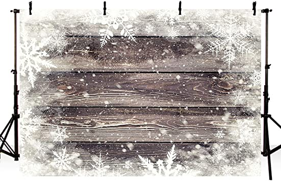 New Winter Wood Photography Backdrops Props Winter Wonderland Snowflakes Birthday Wedding Party Decoration Photo Studio Booth Background Banners 7X5ft