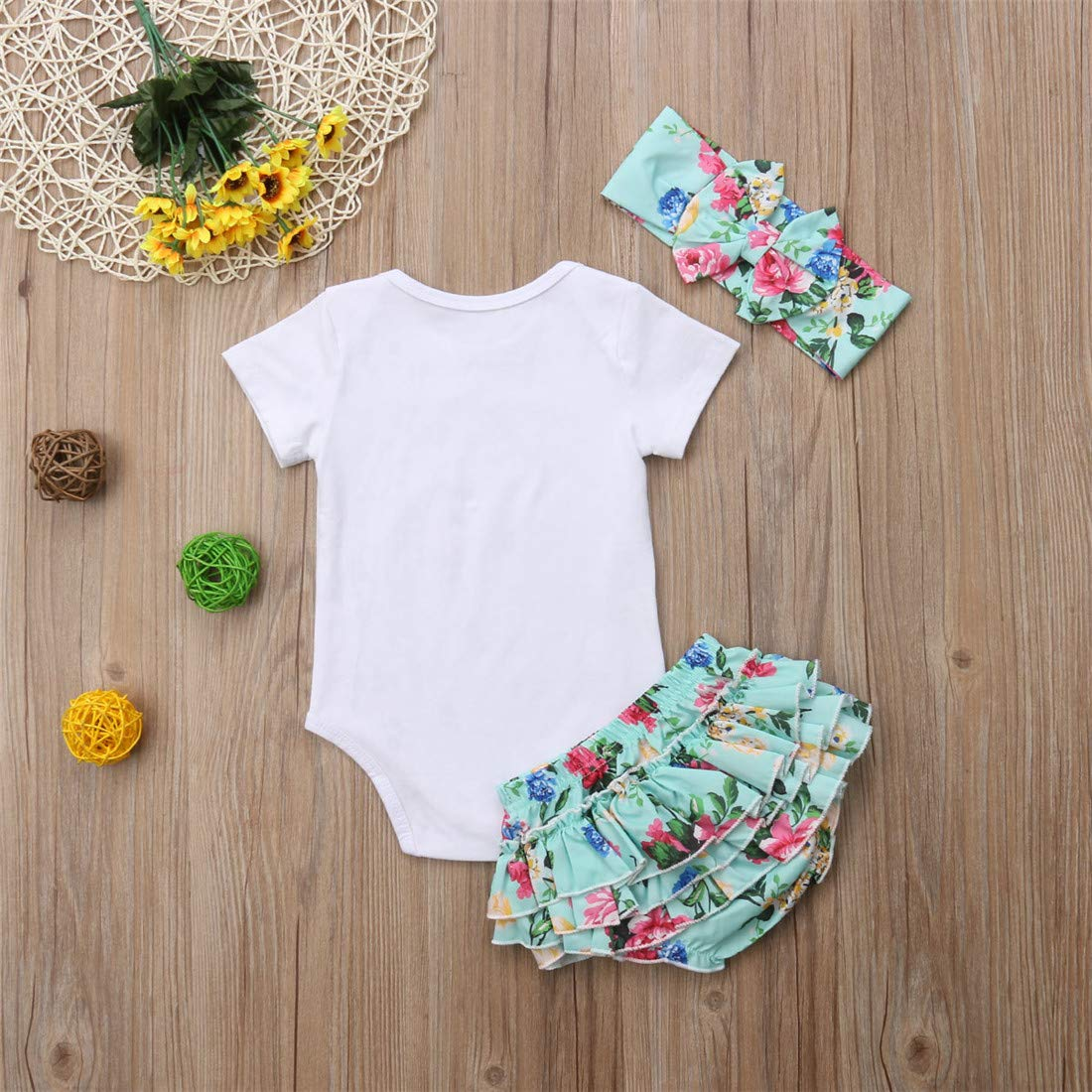 Headband Pants Set Ruffle Shorts Eyiou Newborn Rompers Baby Girls Clothes Infant 3PCS Bodysuit
