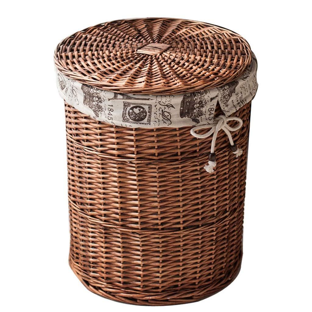 ホームウィッカー収納バスケットカバー付き大型ラタンボックス、汚れた服収納バスケット (色 : Brown) B07H266MZB  Brown