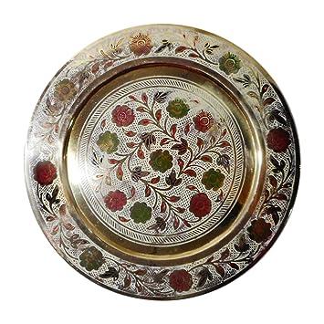 MOHD PARVEZ HANDICRAFT MORADABAD Brass & Copper Decorative Plate (10 cm x 10 cm x 0.5 cm, MPAM02)