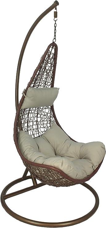 Hamaca de ratán para columpio, silla colgante con cojín y soporte para jardín/patio, Bronze & Grey: Amazon.es: Jardín
