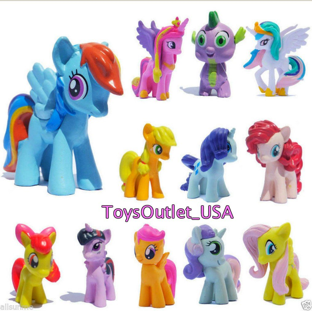 My Little Pony Set 12 pcs Toys | PVC Mini Figure Collection Playset | Kids Decor Cupcake Topper + Pony Stickers