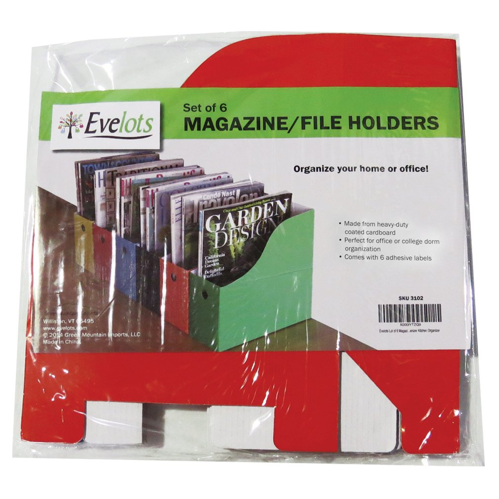 Evelots 6 Heavy Duty Magazine/File Holders W/Adhesive Labels, Multi-Color