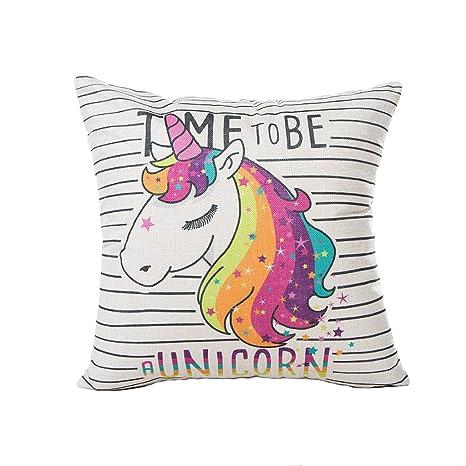 Bonitas fundas de cojín de unicornio para sofá, cama, sala de estar, dormitorio, decoración del hogar, Excelsio personalizado cuadrado algodón lino ...