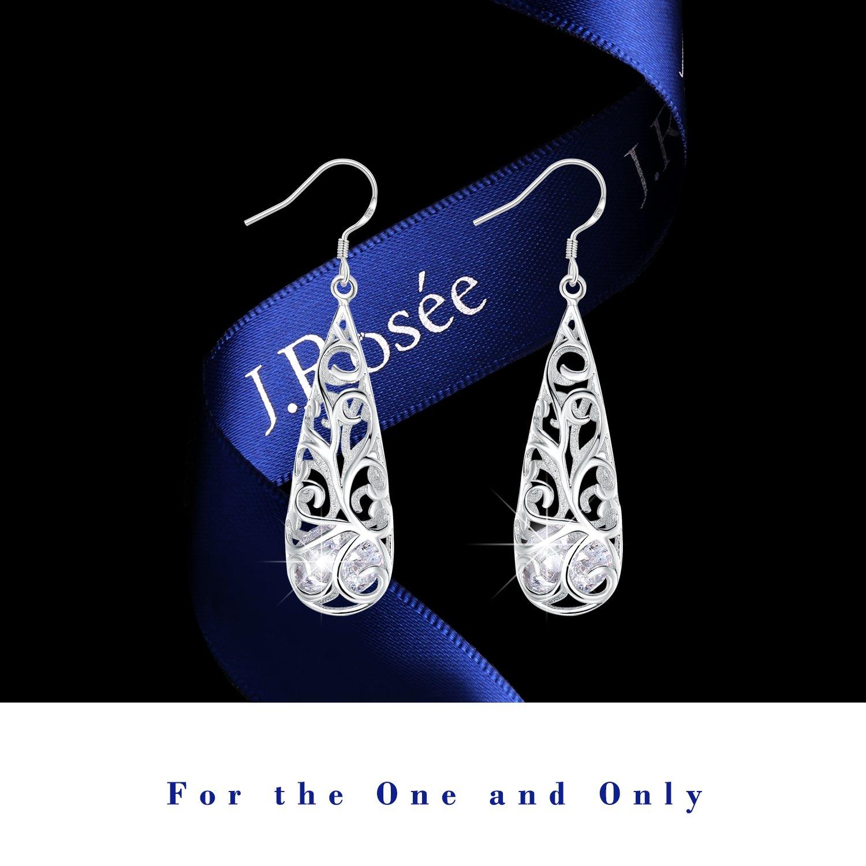 Ohrringe Damen,J.Rosée 925er Sterling Silber, 5A Zirkonia Schmuck Ohrhänger exquisite Geschenk-Box für Frauen Mädchen Freundin Mutter Tochter