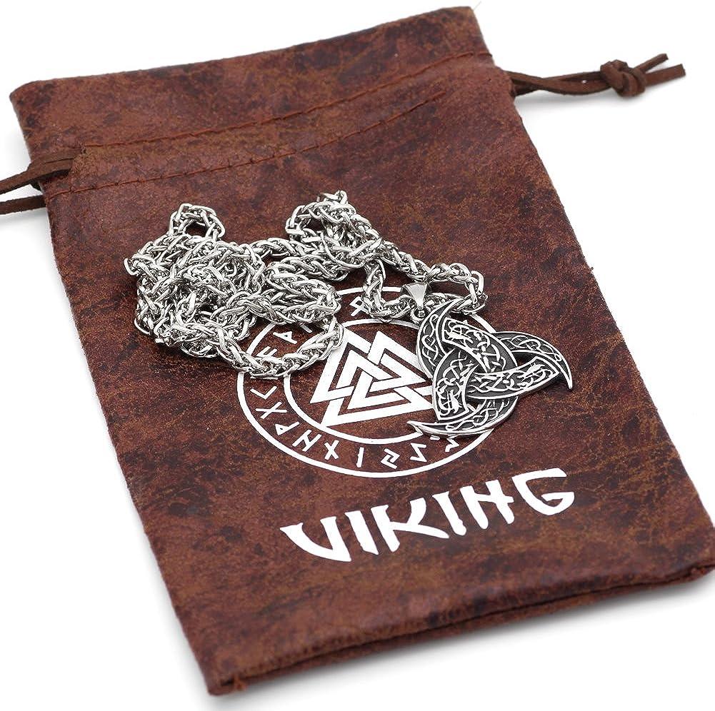 GuoShuang Collier Pendentif Viking en Acier Inoxydable pour Homme Odins Horn Wolf Pendentif avec Sac Cadeau Viking