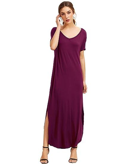 Makemechic Women S Casual Loose Pocket Long Dress Short Sleeve Split