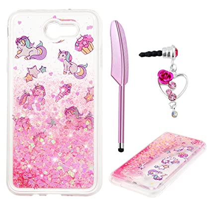 lowest price e6a1e 9302f J7 Case, Galaxy J7 Case, Liquid Glitter Case Cover Sparkle Love Heart Clear  TPU Shockproof Bumper Samsung Galaxy J7 Case 2017 ZSTVIVA - Cute Pink ...