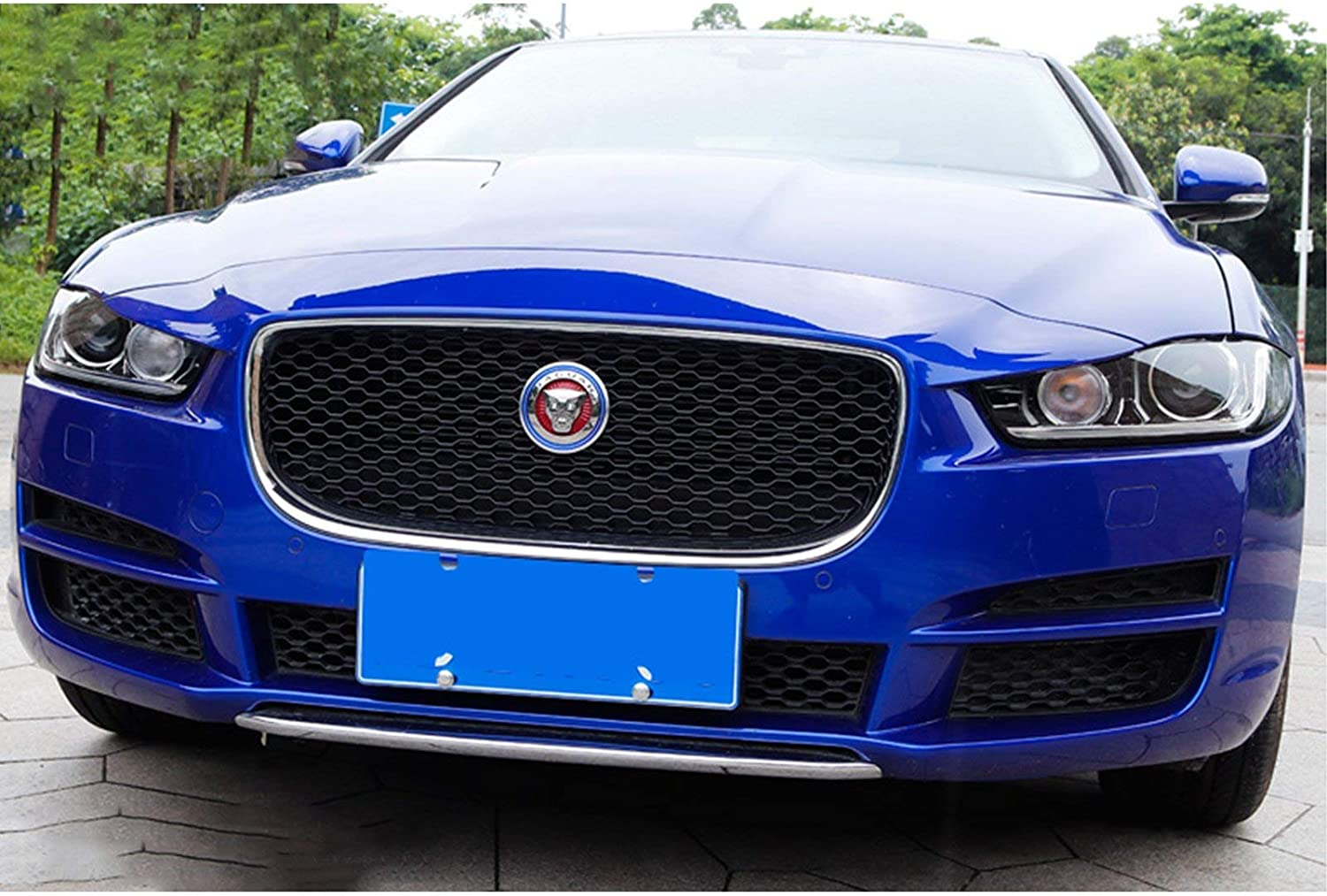 Xotic Tech Blue Aluminum Surrounding Decoration Ring for Jaguar F-Pace XE XF XJ Front Grille Feline Emblem