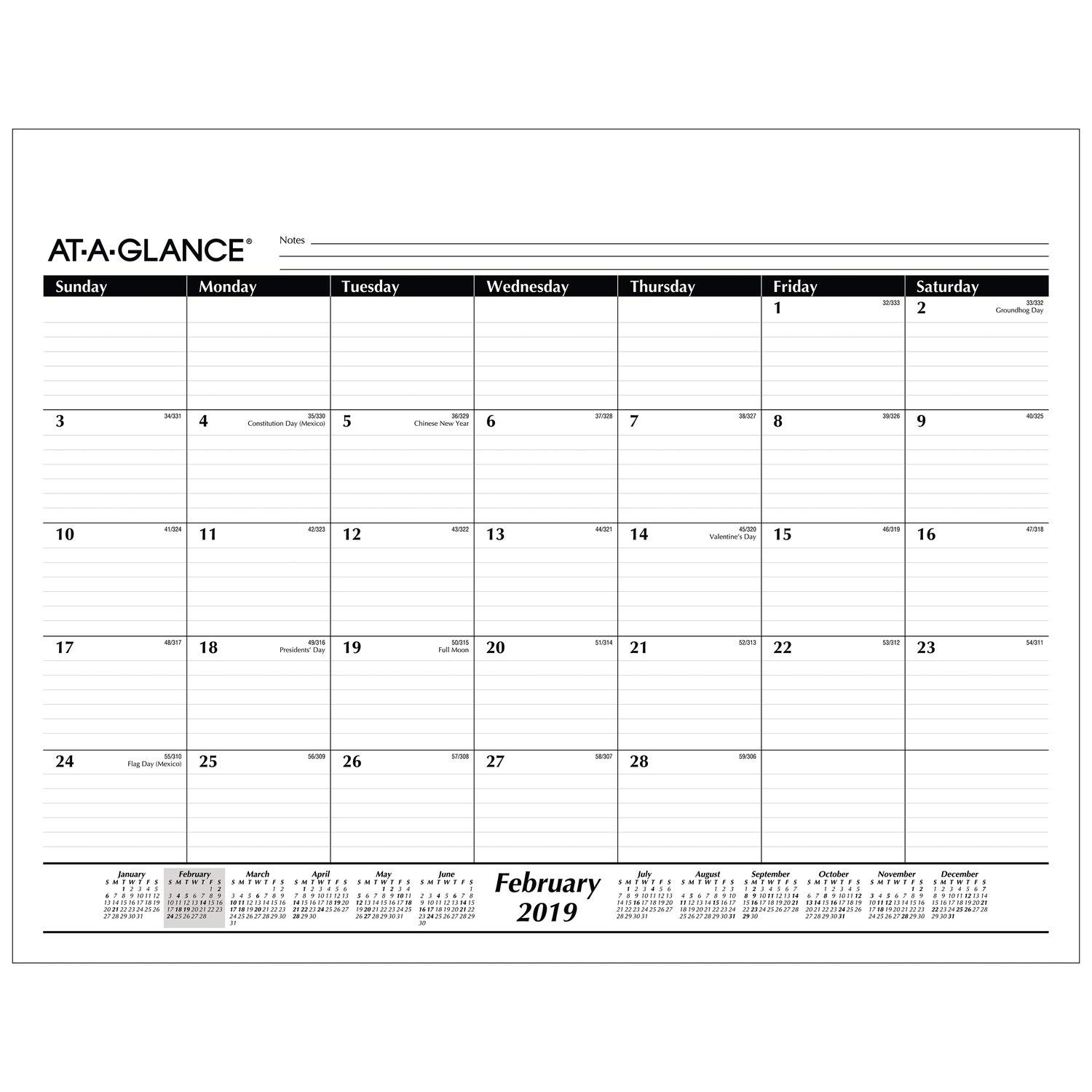 AT-A-GLANCE 2019  Monthly Desk Pad Calendar Refill, 22'' x 17'', Standard, Black / White (SK2250)