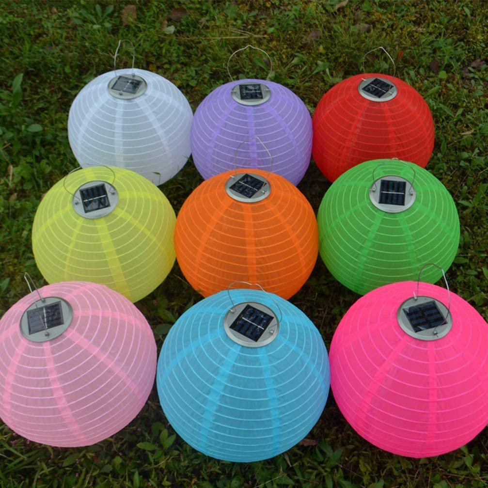 Mobestech 4PCS Solar Powered Hanging Lantern Multi Colored 12 Inches Waterproof Nylon Decorative Chinese Lanterns Foldable Outdoor Paper Lantern Lamp for Festival Garden Tree Decor