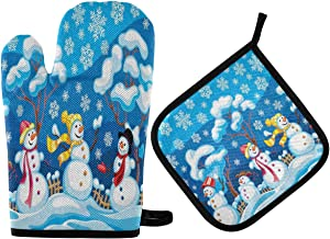 ALAZA Winter Snowman Oven Mitts and Pot Holders Sets Heat Resistant Kitchen Oven Gloves Potholder Hot Pad for Cooking Baking Grill