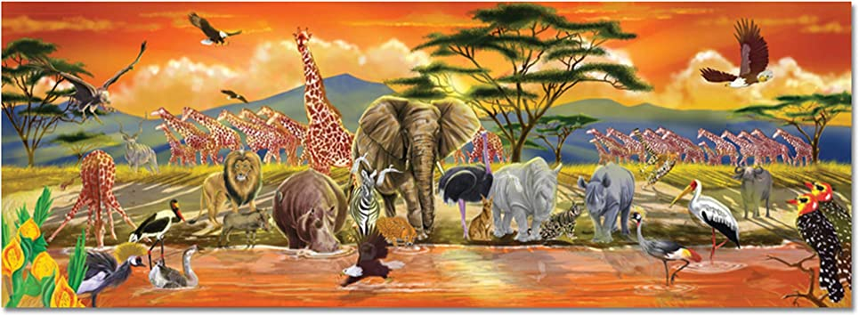 Melissa & Doug 12873 African Plains Safari Jumbo Jigsaw Floor Puzzle (100 Pieces, Over 1 Meter Long)