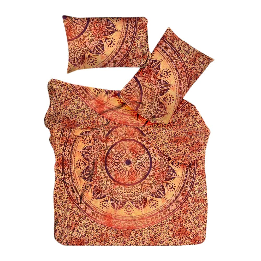 Marusthali Psychedelic Star Mandala Tie Dye Comforter Cover Single Bedding Throw Indian Duvet Cover & Pillow Case Bohemian Throw Bed in a Bag Set With Bed sheet MBDB00018-T