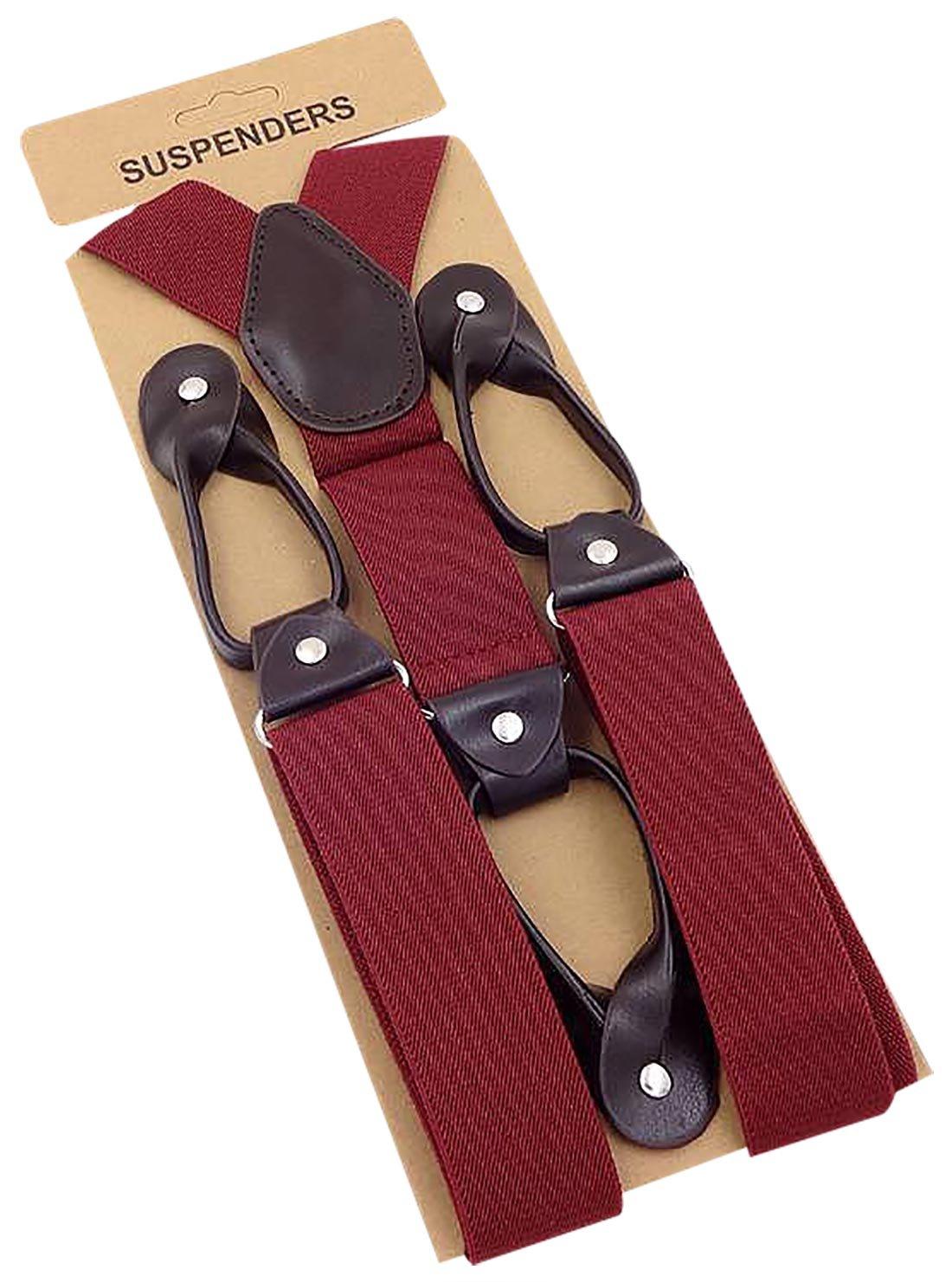 Panegy Suspenders Mens Adjustable Elastic Y-Shape Button Sling Black