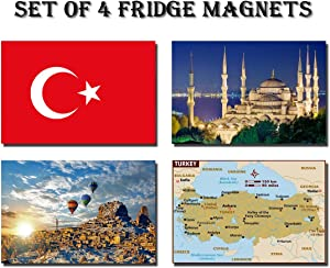 SET OF 4 TURKEY REFRIGERATOR MAGNETS FRIDGE MAGNETS – TURKEY FLAG, TURKEY MAP, TURKEY ATTRACTIONS
