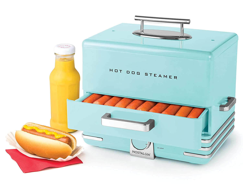 Nostalgia HDS248AQ Extra Large Diner Style Hot Dog Steamer, 24, Aqua