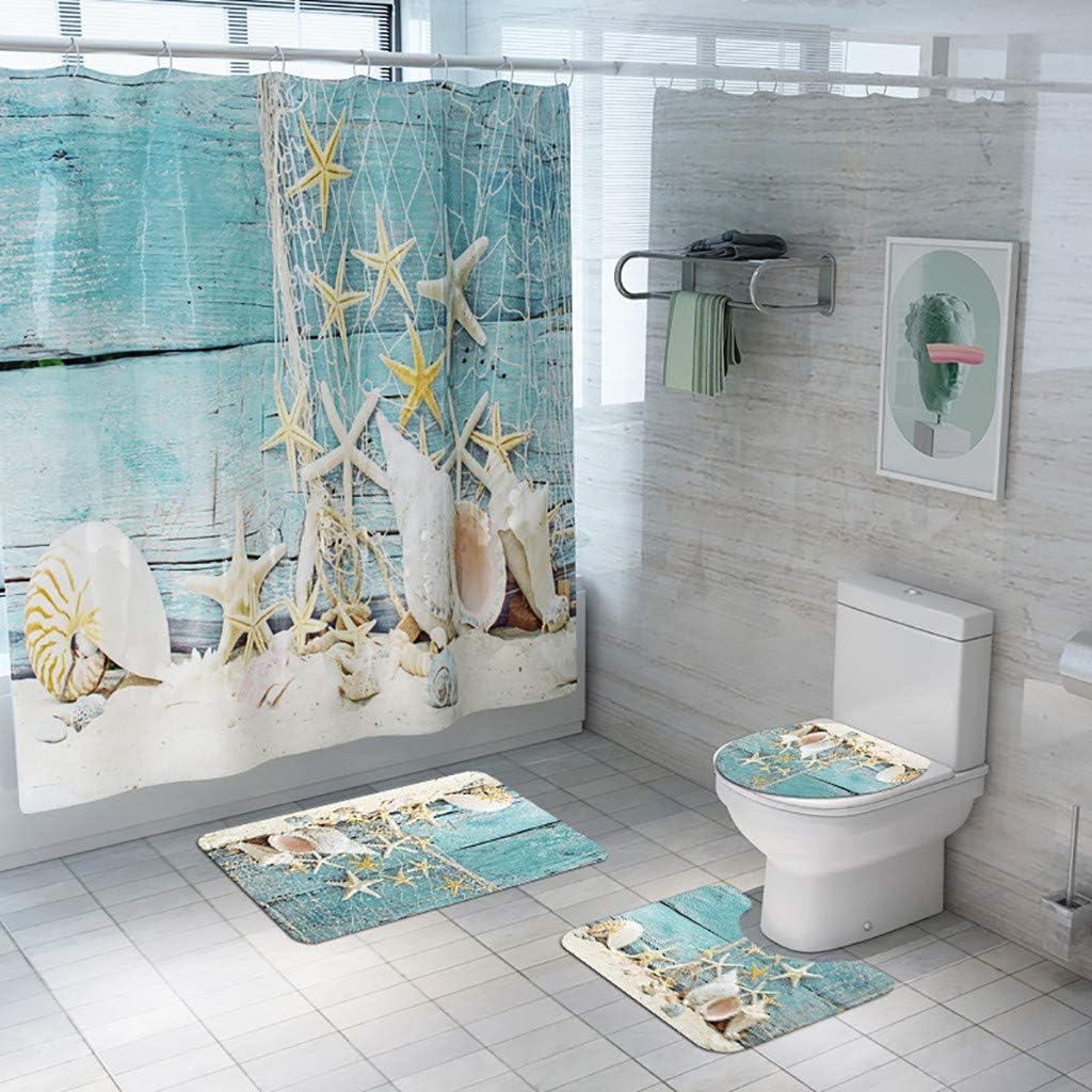 Home Kitchen Beach Theme Shower Curtain 4 Piece Set Summer Hawaiian Style Bathroom Shower Curtain And Rugs With Seashell Starfish Sand Blue Sky Bathroom Decor Kids Home Store