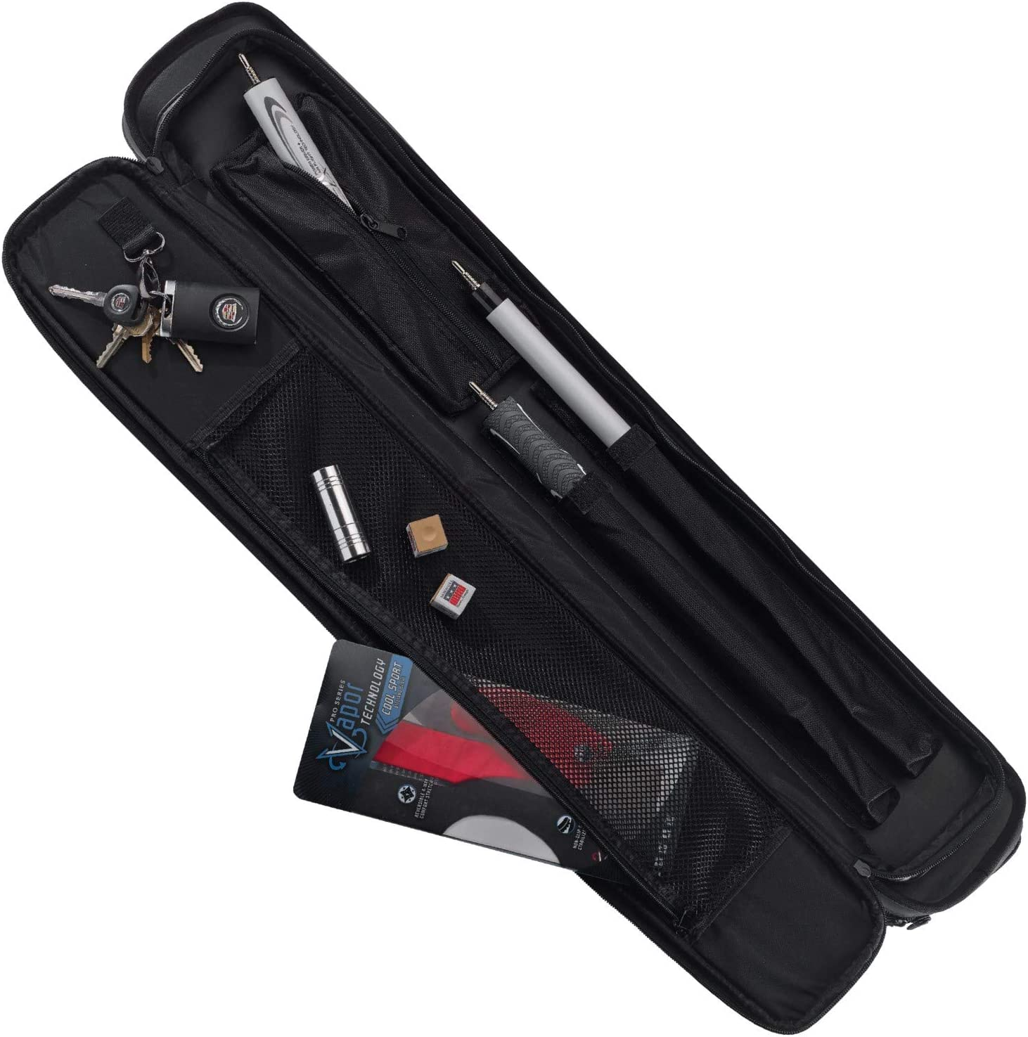 Extra Shafts /& More Jump Break Extensions Holds 4 Cues LUCASI Tournament Pro 4x8 Pool Cue Case