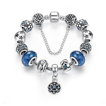 Bracelet Verre de Murano avec Fleurs Pendentif,bijoux fantaisie,Cadeau  parfait pour les fêtes 15b6650c658b